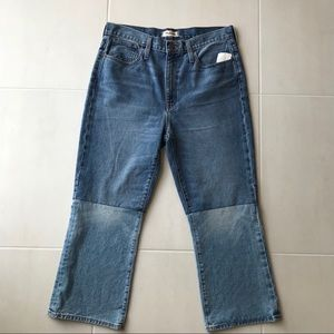 Madewell Retro Crop Boot Two Tone Denim Jeans J19